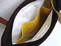 Veľké tašky - !! ZĽAVA!!! Menčestrová taška na veľ. A4 tmavohnedá / žlté kvety - 11396451_