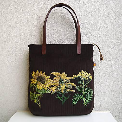 !! ZĽAVA!!! Menčestrová taška na veľ. A4 tmavohnedá / žlté kvety