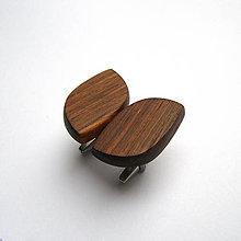 Šperky - Drevené manžetové gombíky - orechové oči (nerez) - 11397365_