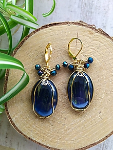 Náušnice - Wire wrapped in blue and gold - 11394929_