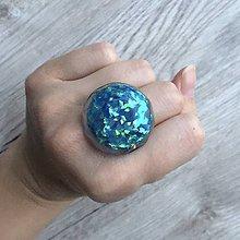 Prstene - Živicový prsteň tyrkysový kruh - 11399230_
