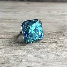 Prstene - Živicový prsteň tyrkysová kocka - 11399777_