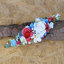 Ozdoby do vlasov - Vlasová ozdoba, polvenček folklórny, s ružičkami - 11401506_