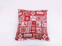 Úžitkový textil - Obliečka červeno-béžová vianočná - 11398773_