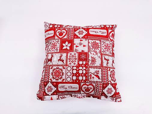 Obliečka červeno-béžová vianočná