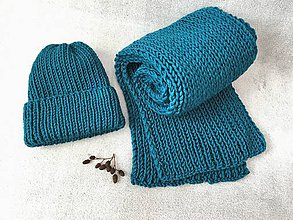 Čiapky - Čiapka a šál (Modrá) - 11400238_