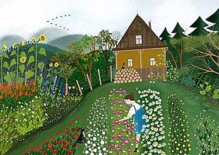 """Kresby - """"U černušky """" reprodukcia mojej maľby (A4) - 11400978_"""