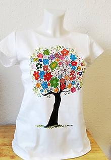 """Tričká - Ručnemaľované tričko - """"Rozkvitnutý strom"""" - 11400886_"""