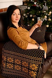 Úžitkový textil - Pletená deka, nórsky vzor, čierna-kari, čierna podšívka - 11398466_