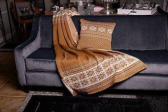 Úžitkový textil - Pletená deka, sobíky, hnedá-béžová, hnedá podšívka - 11398671_