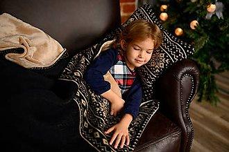 Úžitkový textil - Pletená deka, nórsky vzor, čierno-hnedá, hnedá podšívka - 11399645_