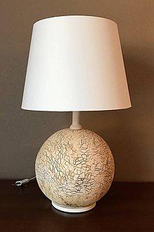 Svietidlá a sviečky - Stolná lampa - guľa, keramika - 11398575_