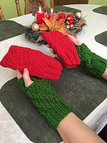Rukavice - Návleky na ruky : zelené - červené (jasno červená) - 11400755_