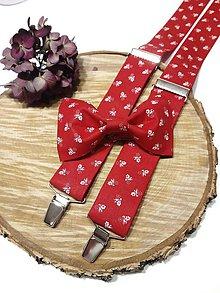 Doplnky - Pánsky set folklórny červený motýlik + traky - 11400153_