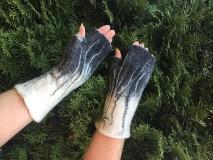 Rukavice - Čierno-biele bezprstové rukavice - 11402075_