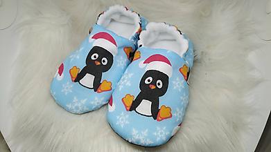 Topánočky - Výpredaj Capačky vianoční tučniaci 12-18 mesiacov - 11400023_