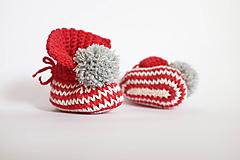 Topánočky - Červené MERINO papučky- škriatkovské - 11399281_