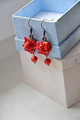 Náušnice - Scarlett, ruže, náušnice, fimo - 11398235_