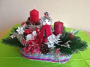 Dekorácie - Vianočná dekorácia so snehuliakom - 11398070_
