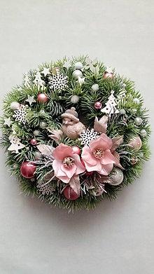 Dekorácie - Vianocny veniec Zimné vtáča - 11399264_