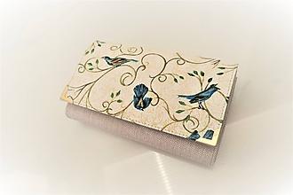 Peňaženky - Ptáčci na přírodní- peněženka 15 cm, na dvě měny - 11398558_