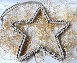 Dekorácie - Handmade háčkovaná závesná dekorácia (nielen vianočná) - hviezda (Hviezda (z 5 mm šnúry) - farba kapučíno) - 11400011_