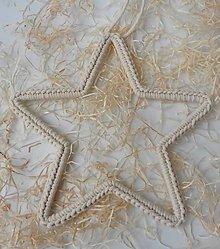 Dekorácie - Handmade háčkovaná závesná dekorácia (nielen vianočná) - hviezda (Hviezda (z 3 mm šnúry) - farba prírodná (smotanová)) - 11400072_
