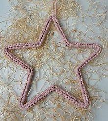 Dekorácie - Handmade háčkovaná závesná dekorácia (nielen vianočná) - hviezda (Hviezda (z 3 mm šnúry) - farba podľa výberu) - 11400163_