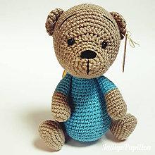 Hračky - Medvedík Teddy v pyžamku - háčkovaná hračka - 11400803_
