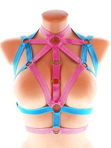 Bielizeň/Plavky - women body harness, postroj bielizeň otvorená podprsenka pastel gothic postroj body harness lingerie SD3 - 11405337_