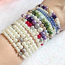 Náramky - Set of 14 Beaded Bracelets / Sada 14 elastických náramkov z voskovaných perál - 11404691_