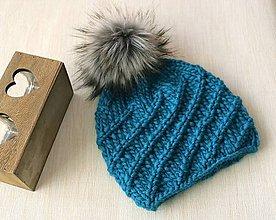 Čiapky - NATURAL WOOL - pletená EXTRAhrubá čiapka so špirálovým vzorom - 11403104_