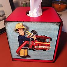 Detské doplnky - POŽIARNIK SAM box na vreckovky - 11402667_