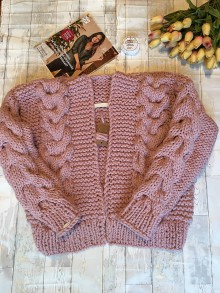 Svetre/Pulóvre - Romantic cardigan-dusty rose - 11402950_