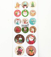 Papier - Vianočné samolepky, zvieratká - 11404135_