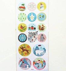 Papier - Vianočné samolepky, lyžovačka, vtáčik, tučniak - 11404160_