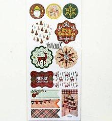 Papier - Vianočné samolepky, stromček, vločka, dedo mráz - 11404199_