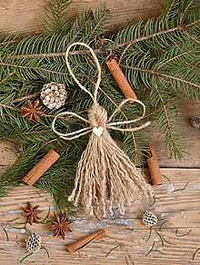 Dekorácie - Ozdoba na stromček Jutový anjelik - 11404218_