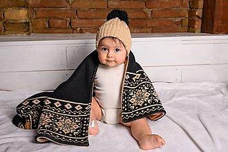"""Textil - Detská deka,""""Nórsky vzor"""", OEKO-TEX® - Čierno-Hnedá - 11403744_"""