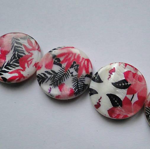 Perleť.placka 20mm-kvety-1ks (červené papradie)