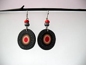Náušnice - ,,Kolieska s červenou,, - 11405618_