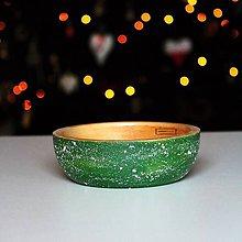 Nádoby - Drevená buková miska zelená fŕkaná Ø18,5/6 - 11404390_