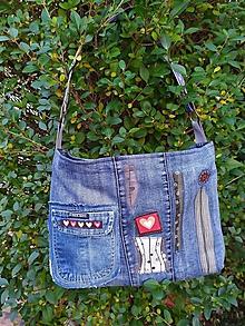 Veľké tašky - Denim kabelka so srdiečkami - 11404257_