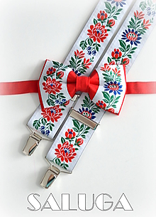 Doplnky - Folklórny pánsky červený motýlik a traky - folkový - 11405125_