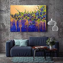 Obrazy - Modré kvety-abstrakt - 11405962_