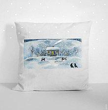 """Úžitkový textil - Vankúš """"Vianoce so zvieratkami"""", maľovaná návliečka - 11403923_"""