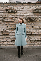 Kabáty - Vlnený kabát princess strihu SEVERANKA-jemná modrá - 11405147_