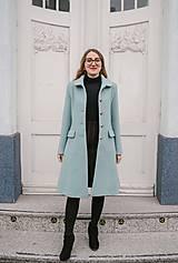 Kabáty - Vlnený kabát princess strihu SEVERANKA-jemná modrá - 11405150_