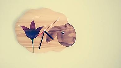 Hodiny - Drevené maľované hodiny - ovečka - 11402217_