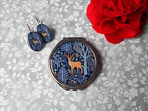 Zrkadielka - Hnedý jelenček (zrkadielko + náušničky) - 11403745_